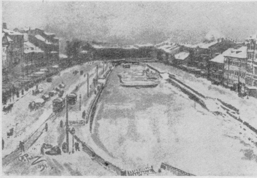 И.Е. Репин. Вид из окна мастерской на Екатерининский канал. Рисунок, 1887 г