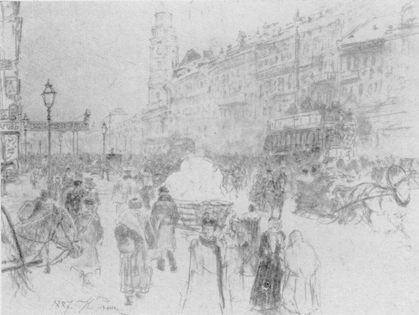 И.Е. Репин. Невский проспект. Рисунок, 1887 г