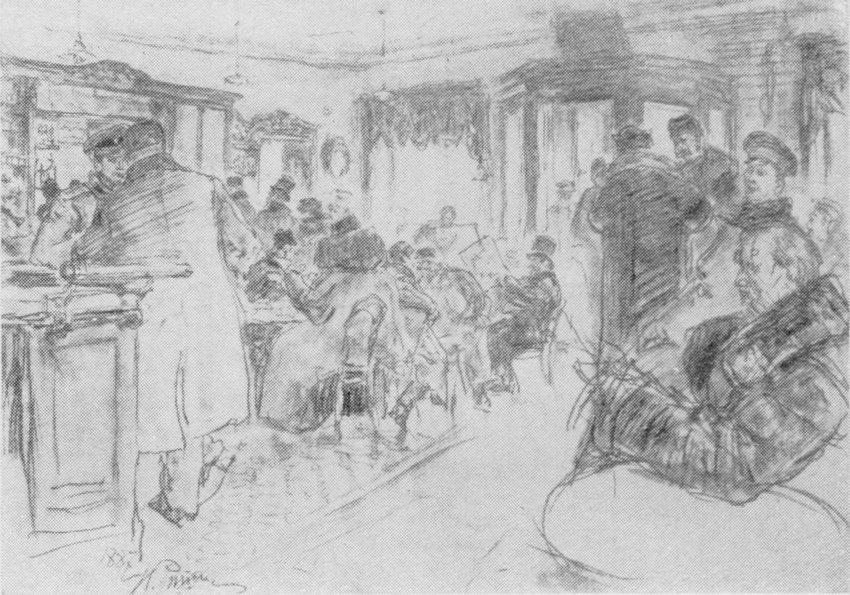 И.Е. Репин. У Доминика. Рисунок, 1887 г