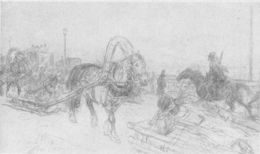 И.Е. Репин. На Николаевском мосту. Рисунок, 1891 г