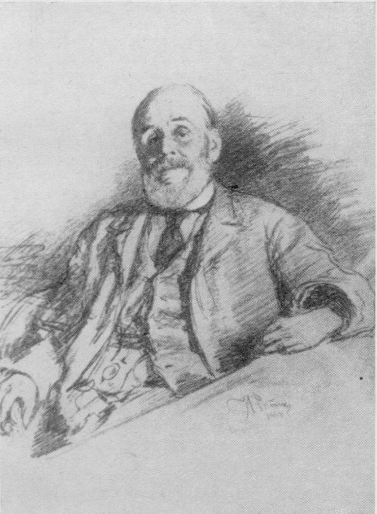 И.Е. Репин. И.А. Гончаров. Рисунок, 1888 г